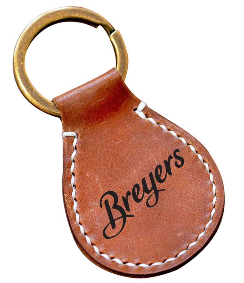 Leather Oval Keyring