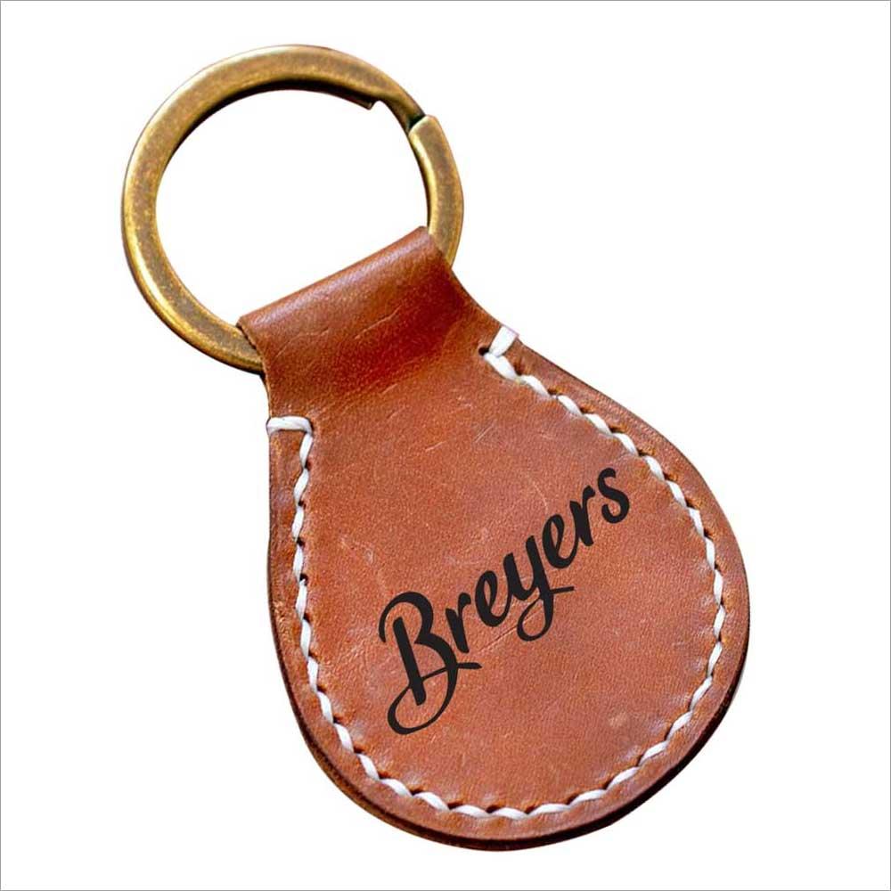 Leather Oval Keyring